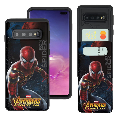 Galaxy S10 5G Case (6.7inch) Marvel Avengers Slim Slider Card Slot Dual Layer Holder Bumper Cover - Infinity War Spider Man