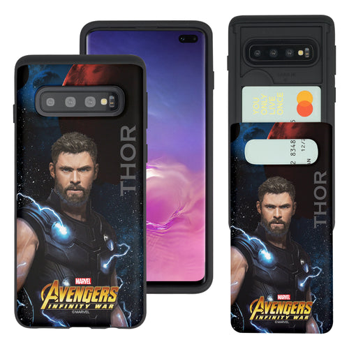 Galaxy S10 Plus Case (6.4inch) Marvel Avengers Slim Slider Card Slot Dual Layer Holder Bumper Cover - Infinity War Thor