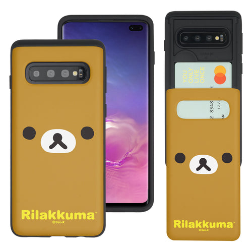 Galaxy Note8 Case Rilakkuma Slim Slider Card Slot Dual Layer Holder Bumper Cover - Face Rilakkuma