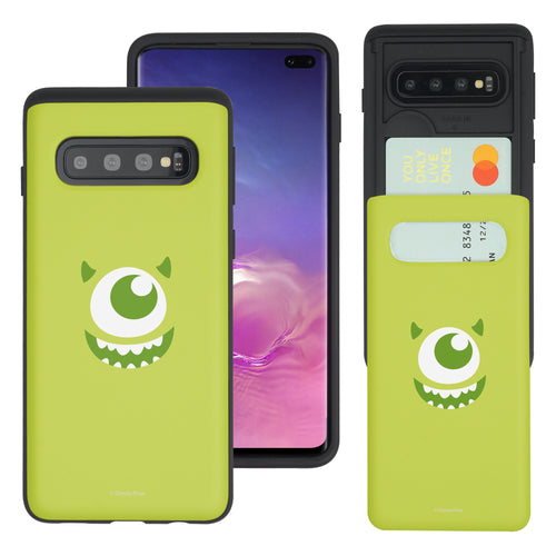 Galaxy S10 Case (6.1inch) Monsters University inc Slim Slider Card Slot Dual Layer Holder Bumper Cover - Face Mike