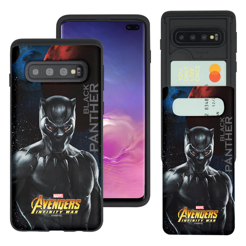 Galaxy S10 Plus Case (6.4inch) Marvel Avengers Slim Slider Card Slot Dual Layer Holder Bumper Cover - Infinity War Black Panther