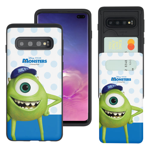 Galaxy S10 Case (6.1inch) Monsters University inc Slim Slider Card Slot Dual Layer Holder Bumper Cover - Movie Mike