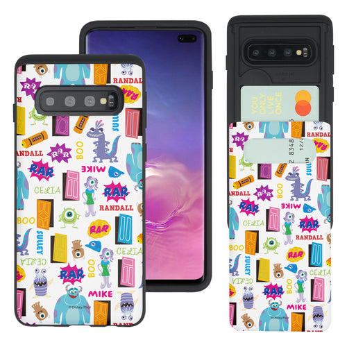 Galaxy S10 Case (6.1inch) Monsters University inc Slim Slider Card Slot Dual Layer Holder Bumper Cover - Pattern Name White