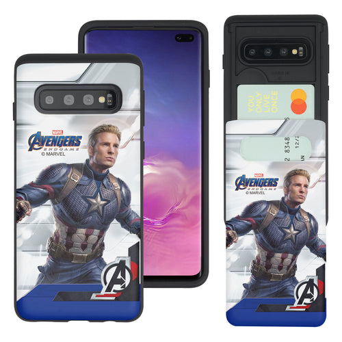 Galaxy S10 Plus Case (6.4inch) Marvel Avengers Slim Slider Card Slot Dual Layer Holder Bumper Cover - End Game Captain America