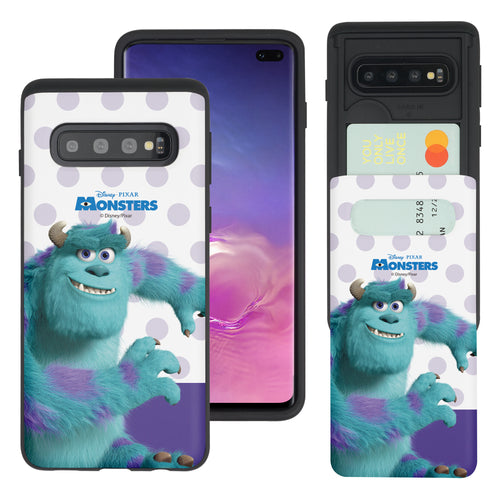Galaxy S10 Case (6.1inch) Monsters University inc Slim Slider Card Slot Dual Layer Holder Bumper Cover - Movie Sulley