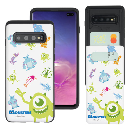 Galaxy S10 Case (6.1inch) Monsters University inc Slim Slider Card Slot Dual Layer Holder Bumper Cover - Pattern Monsters