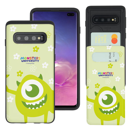 Galaxy S10 Case (6.1inch) Monsters University inc Slim Slider Card Slot Dual Layer Holder Bumper Cover - Full Mike