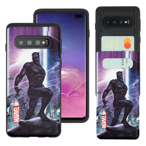 Galaxy S10 5G Case (6.7inch) Marvel Avengers Slim Slider Card Slot Dual Layer Holder Bumper Cover - Black Panther Stand