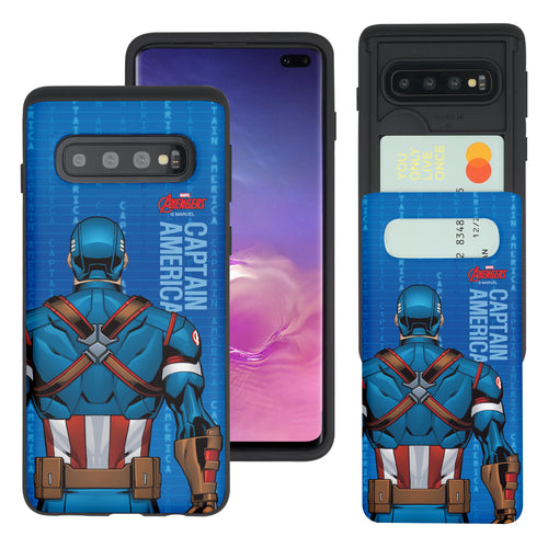 Galaxy S10 5G Case (6.7inch) Marvel Avengers Slim Slider Card Slot Dual Layer Holder Bumper Cover - Back Captain America