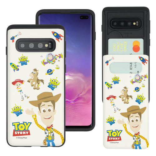 Galaxy S10 Case (6.1inch) Toy Story Slim Slider Card Slot Dual Layer Holder Bumper Cover - Pattern Woody