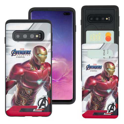 Galaxy S10 Plus Case (6.4inch) Marvel Avengers Slim Slider Card Slot Dual Layer Holder Bumper Cover - End Game Iron Man