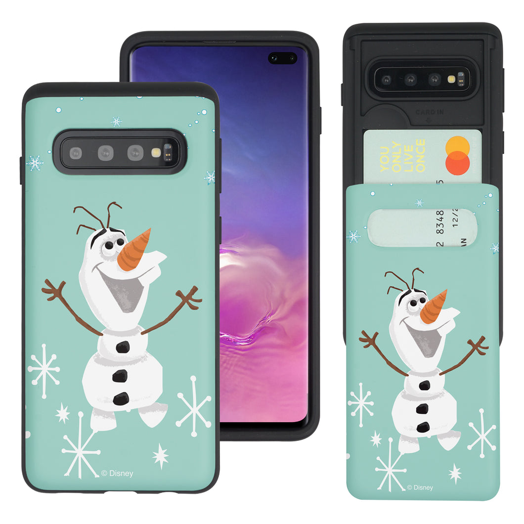Galaxy S10e Case (5.8inch) Disney Frozen Dual Layer Card Slide Slot Wallet Bumper Cover - Cute Olaf