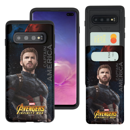 Galaxy S10 5G Case (6.7inch) Marvel Avengers Slim Slider Card Slot Dual Layer Holder Bumper Cover - Infinity War Captain America