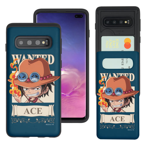 Galaxy S10 Plus Case (6.4inch) ONE PIECE Slim Slider Card Slot Dual Layer Holder Bumper Cover - Mini Ace