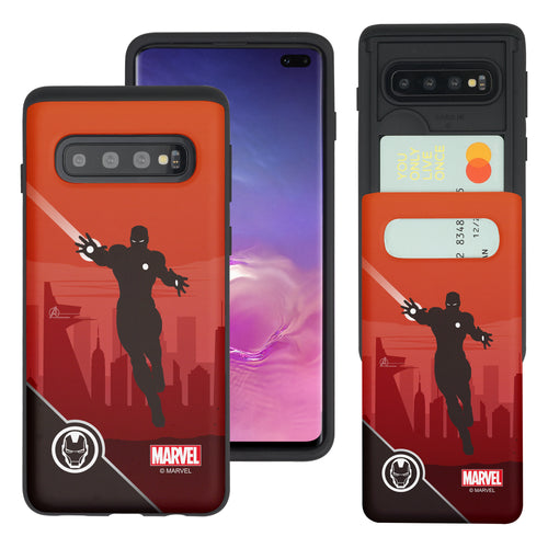 Galaxy S10 5G Case (6.7inch) Marvel Avengers Slim Slider Card Slot Dual Layer Holder Bumper Cover - Shadow Iron Man