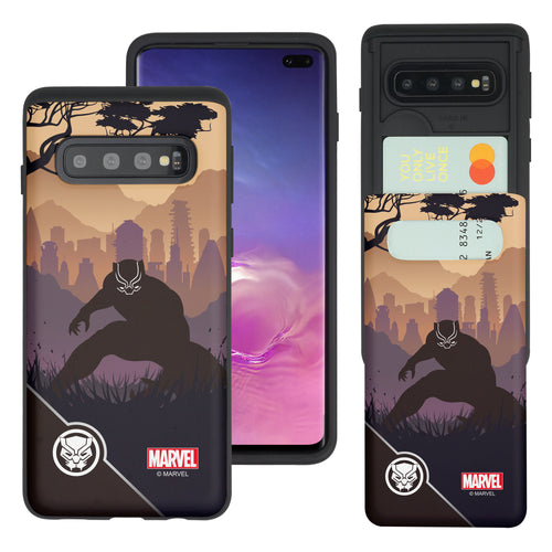 Galaxy S10 Plus Case (6.4inch) Marvel Avengers Slim Slider Card Slot Dual Layer Holder Bumper Cover - Shadow Black Panther