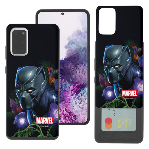 Galaxy S20 Case (6.2inch) Marvel Avengers Slim Slider Card Slot Dual Layer Holder Bumper Cover - Black Panther Face Black