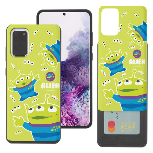 Galaxy S20 Plus Case (6.7inch) Toy Story Slim Slider Card Slot Dual Layer Holder Bumper Cover - Pattern Alien Eyes