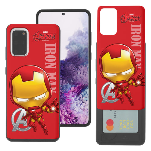 Galaxy S20 Case (6.2inch) Marvel Avengers Slim Slider Card Slot Dual Layer Holder Bumper Cover - Mini Iron Man