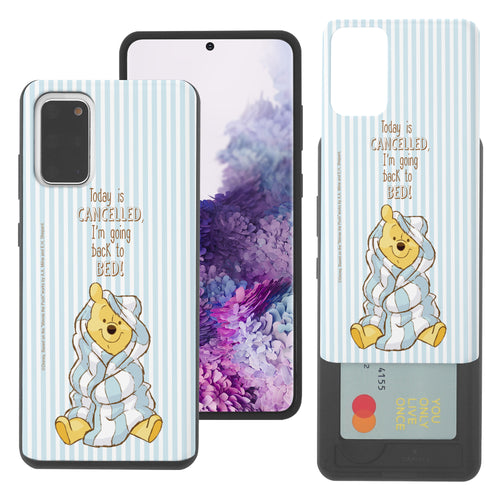 Galaxy Note20 Case (6.7inch) Disney Pooh Slim Slider Card Slot Dual Layer Holder Bumper Cover - Words Pooh Stripe