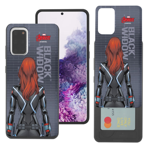 Galaxy S20 Case (6.2inch) Marvel Avengers Slim Slider Card Slot Dual Layer Holder Bumper Cover - Back Black Widow