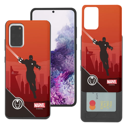 Galaxy S20 Case (6.2inch) Marvel Avengers Slim Slider Card Slot Dual Layer Holder Bumper Cover - Shadow Iron Man