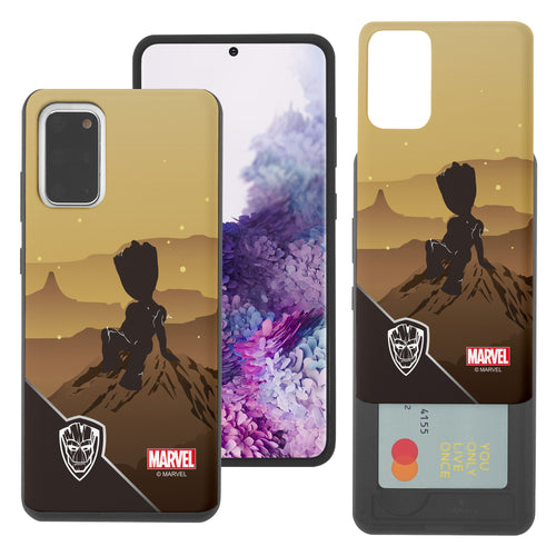 Galaxy S20 Case (6.2inch) Marvel Avengers Slim Slider Card Slot Dual Layer Holder Bumper Cover - Shadow Groot