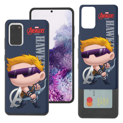 Galaxy S20 Case (6.2inch) Marvel Avengers Slim Slider Card Slot Dual Layer Holder Bumper Cover - Mini Hawkeye