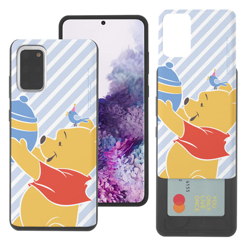 Galaxy Note20 Case (6.7inch) Disney Pooh Slim Slider Card Slot Dual Layer Holder Bumper Cover - Stripe Pooh Bird