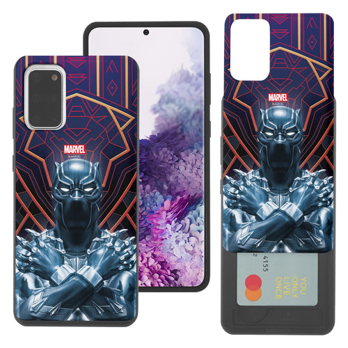 Galaxy S20 Case (6.2inch) Marvel Avengers Slim Slider Card Slot Dual Layer Holder Bumper Cover - Black Panther Face Lines