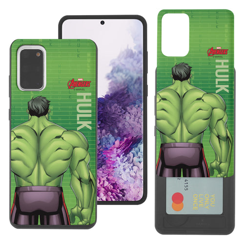 Galaxy Note20 Case (6.7inch) Marvel Avengers Slim Slider Card Slot Dual Layer Holder Bumper Cover - Back Hulk