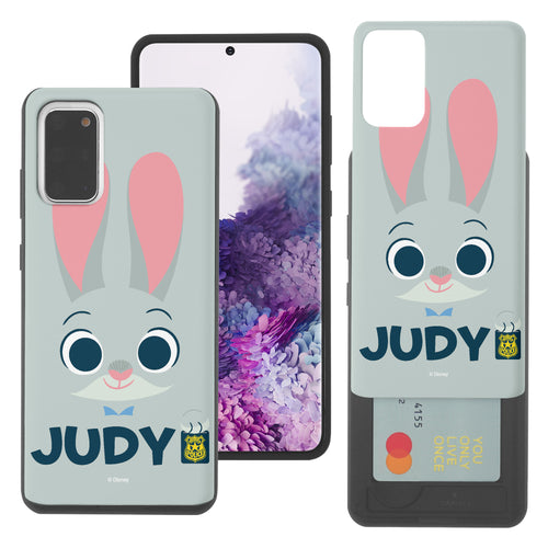 Galaxy S20 Case (6.2inch) Disney Zootopia Dual Layer Card Slide Slot Wallet Bumper Cover - Face Judy
