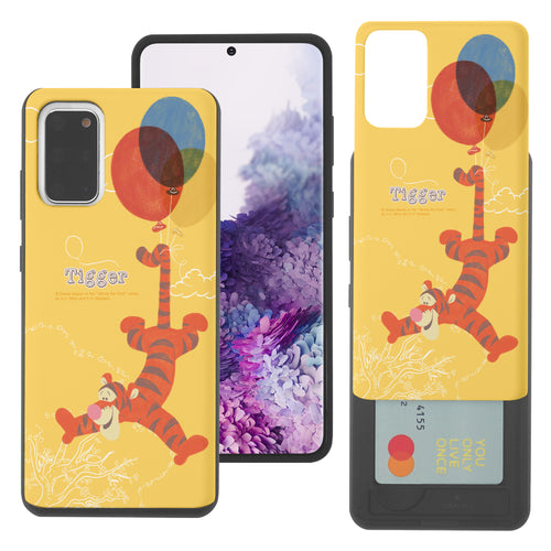 Galaxy S20 Case (6.2inch) Disney Pooh Slim Slider Card Slot Dual Layer Holder Bumper Cover - Balloon Tigger