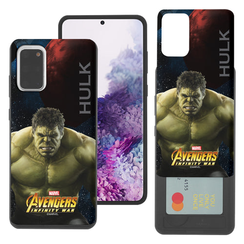 Galaxy S20 Case (6.2inch) Marvel Avengers Slim Slider Card Slot Dual Layer Holder Bumper Cover - Infinity War Hulk