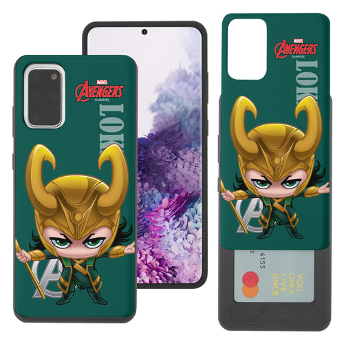 Galaxy Note20 Ultra Case (6.9inch) Marvel Avengers Slim Slider Card Slot Dual Layer Holder Bumper Cover - Mini Loki