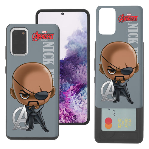 Galaxy S20 Case (6.2inch) Marvel Avengers Slim Slider Card Slot Dual Layer Holder Bumper Cover - Mini Nick Fury