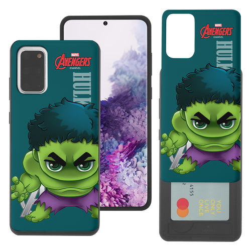 Galaxy Note20 Case (6.7inch) Marvel Avengers Slim Slider Card Slot Dual Layer Holder Bumper Cover - Mini Hulk