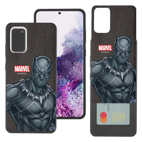 Galaxy Note20 Ultra Case (6.9inch) Marvel Avengers Slim Slider Card Slot Dual Layer Holder Bumper Cover - Illustration Black Panther