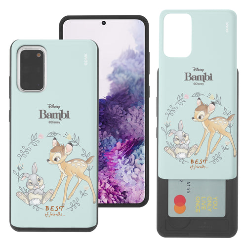 Galaxy S20 Case (6.2inch) Disney Bambi Slim Slider Card Slot Dual Layer Holder Bumper Cover - Full Bambi Thumper