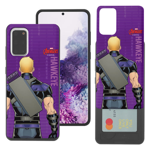 Galaxy S20 Case (6.2inch) Marvel Avengers Slim Slider Card Slot Dual Layer Holder Bumper Cover - Back Hawkeye