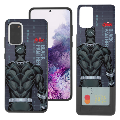 Galaxy S20 Case (6.2inch) Marvel Avengers Slim Slider Card Slot Dual Layer Holder Bumper Cover - Back Black Panther