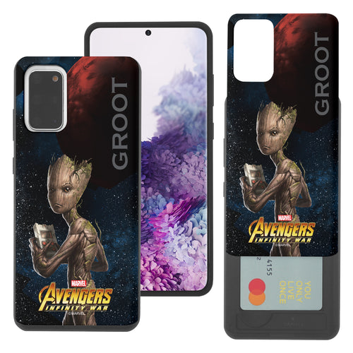 Galaxy S20 Case (6.2inch) Marvel Avengers Slim Slider Card Slot Dual Layer Holder Bumper Cover - Infinity War Groot