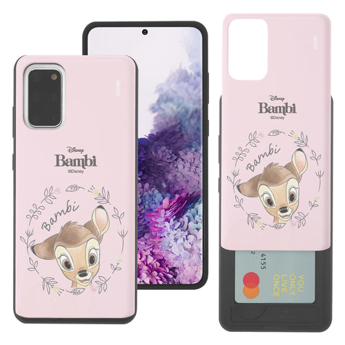 Galaxy S20 Case (6.2inch) Disney Bambi Slim Slider Card Slot Dual Layer Holder Bumper Cover - Face Bambi