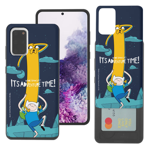 Galaxy Note20 Ultra Case (6.9inch) Adventure Time Slim Slider Card Slot Dual Layer Holder Bumper Cover - Cuty Jake Long