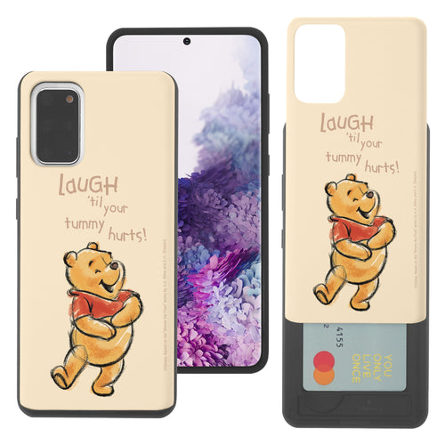 Galaxy S20 Case (6.2inch) Disney Pooh Slim Slider Card Slot Dual Layer Holder Bumper Cover - Words Pooh Laugh