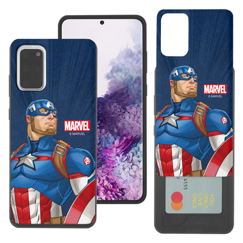 Galaxy Note20 Ultra Case (6.9inch) Marvel Avengers Slim Slider Card Slot Dual Layer Holder Bumper Cover - Illustration Captain America