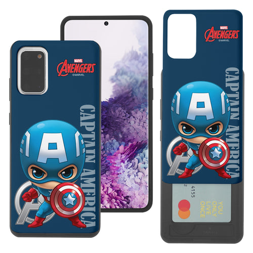 Galaxy S20 Case (6.2inch) Marvel Avengers Slim Slider Card Slot Dual Layer Holder Bumper Cover - Mini Captain America