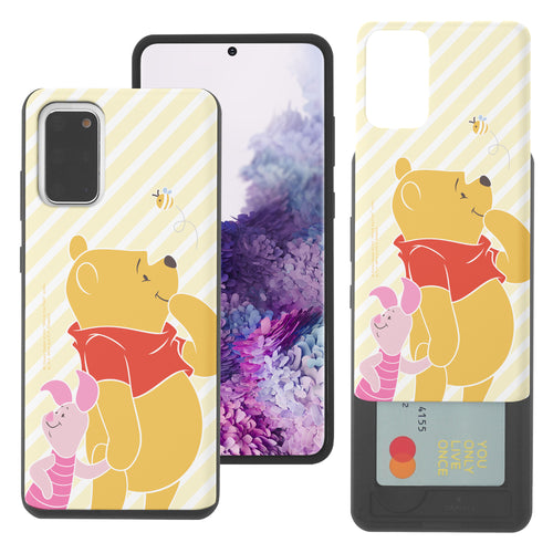 Galaxy Note20 Case (6.7inch) Disney Pooh Slim Slider Card Slot Dual Layer Holder Bumper Cover - Stripe Pooh Bee