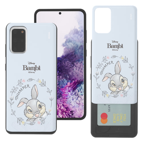 Galaxy S20 Case (6.2inch) Disney Bambi Slim Slider Card Slot Dual Layer Holder Bumper Cover - Face Thumper
