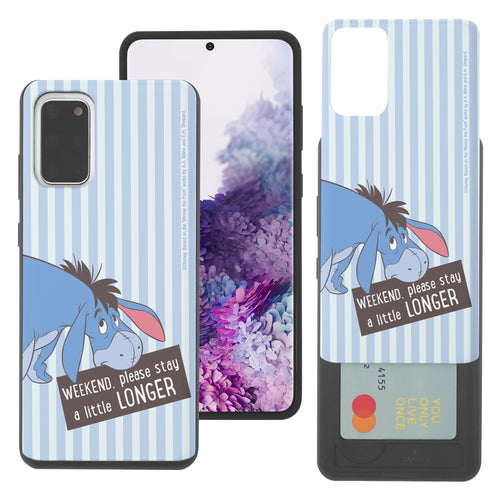 Galaxy S20 Case (6.2inch) Disney Pooh Slim Slider Card Slot Dual Layer Holder Bumper Cover - Words Eeyore Stripe